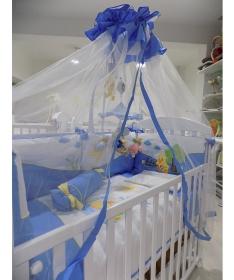 Komplet posteljine pačići za krevetac za bebe plava.jpg