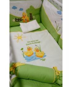Pače komplet posteljine za krevetac za bebe zelena