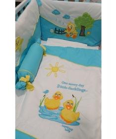Pače komplet posteljine za krevetac za bebe tirkizna