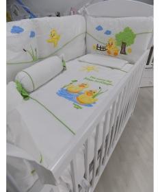 Pače komplet posteljine za krevetac za bebe bela zelena